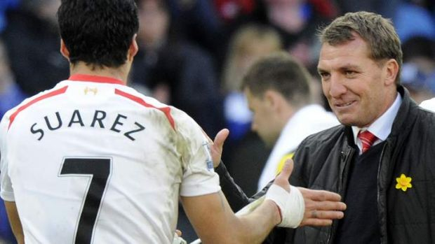 Liverpool's manager Brendan Rodgers and his star striker Luis Suarez.