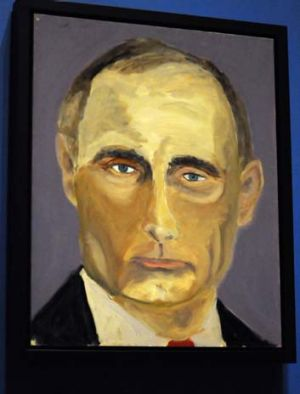 A rare hit: Bush's portrait of Russian President Vladimir Putin.