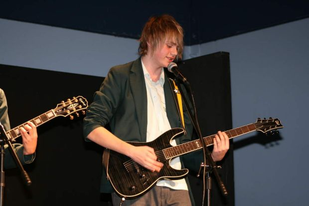 Michael from 5 seconds of summer Performing at Norwest Christian College in 2010.