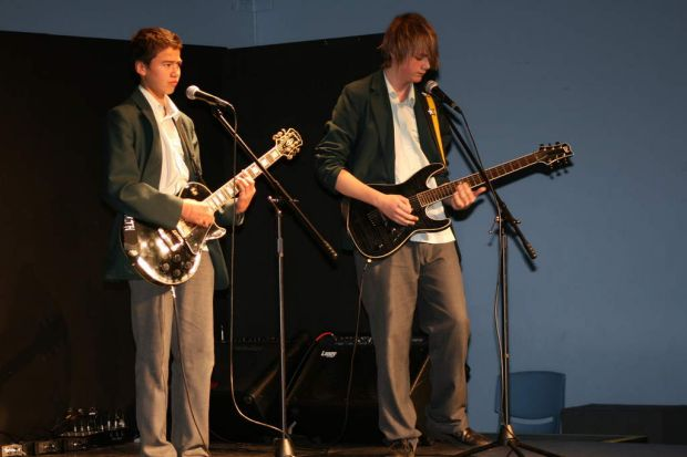 Calum and Michael from 5 seconds of summer Performing at Norwest Christian College in.