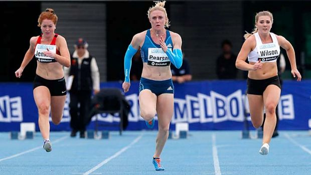 Sally Pearson (centre) competes in the 100 metres during the 92nd Australian Athletics Championships at Olympic Park on ...