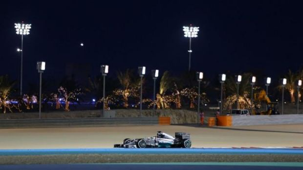Bright prospects: Lewis Hamilton puts his Mercedes through its paces in Bahrain.