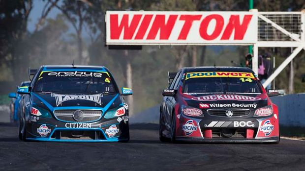 Lee Holdsworth and Fabian Coulthard battle it out at Winton.
