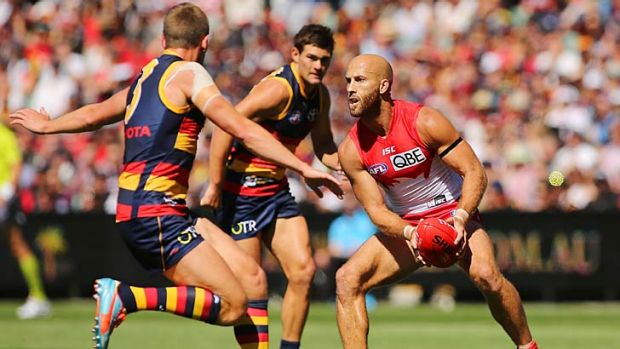 Jarrad McVeigh (right) tries to run with the ball during the match against Adelaide.