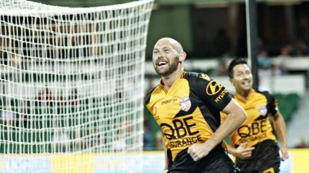 Steven McGarry of Perth Glory celebrates a goal during the win over Central Coast.