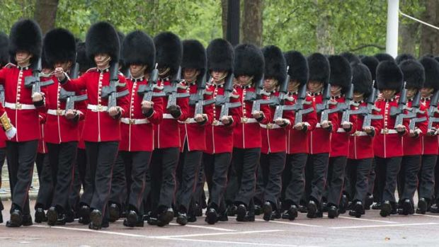 Queen's Guards on parade.