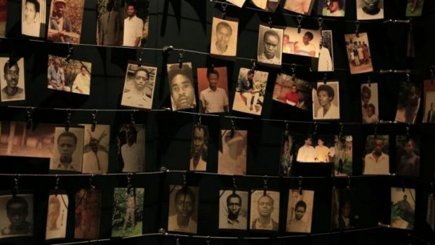 Photographs of victims of the 1994 Rwanda genocide hang inside the Kigali Genocide Memorial Centre.