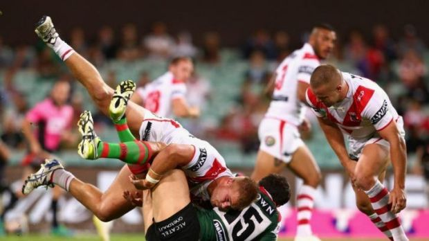 Dragons forward Jack De Belin, who could be in trouble with the NRL judiciary when charges are announced on Monday, ...