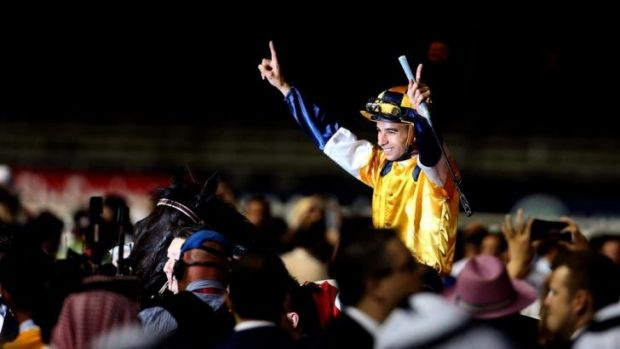 Ready for Randwick: Joao Moreira celebrates victory during the Dubai World Cup.
