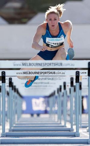 Sally Pearson wins the women's 100 metres hurdles at the 92nd Australian Athletics Championships on Sunday.