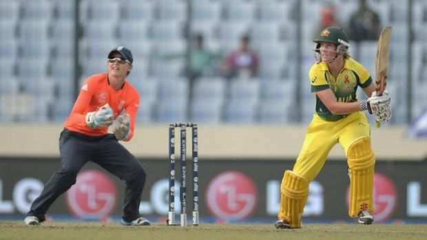 Meg Lanning hits a boundary during her innings of 44.