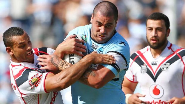 On the warpath: Sharks prop Andrew Fifita against the Warriors on Saturday.