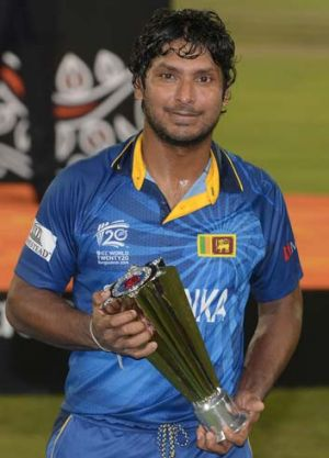 Kumar Sangakkara poses with the Man of the Match trophy.
