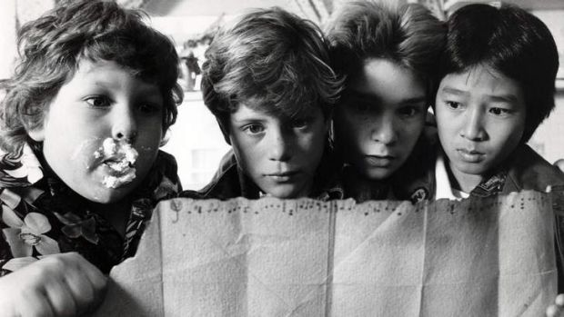 Looking to unearth hidden treasure again?: Chunk, Mikey, Mouth and Data from <i>The Goonies</i>.