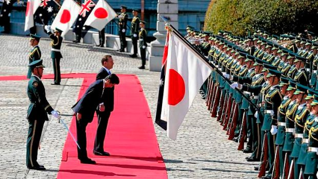 Japanese Prime Minister Shinzo Abe and Prime Minister Tony Abbott during the Welcome Ceremony at the State Guest House ...