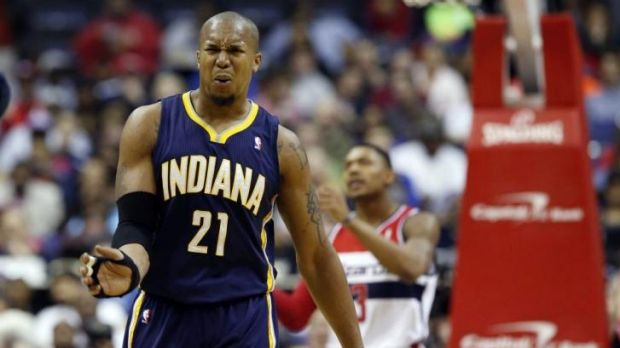 Indiana Pacers forward David West reacts after a foul call in the first half of a game against the Washington Wizards.