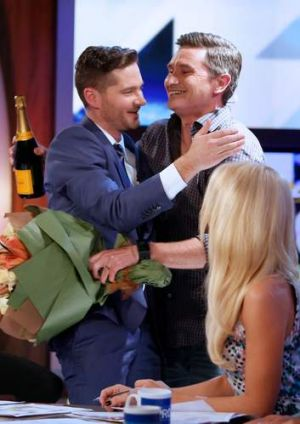 Former co-host Dave Hughes congratulates Pickering on his final episode.