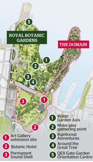 On the cards: The Royal Botanic Gardens and The Domain.