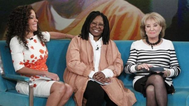 From left, featured guest co-host, attorney Sunny Hostin, and regular co-hosts Whoopi Goldberg and Barbara Walters on ...
