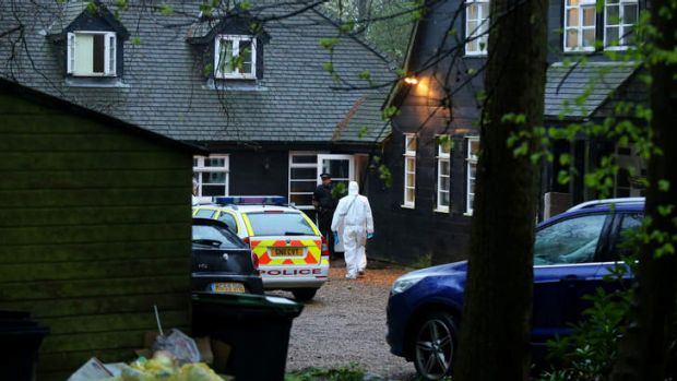 Police officers attend the home of Peaches Geldof. Authorities are waiting on a toxicology report that may take weeks.