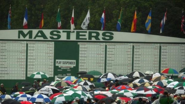 Patrons are evacuated from the course after play was suspended.