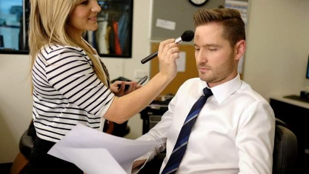 Charlie Pickering having his make-up done for his last show of the <i>The Project</i>.