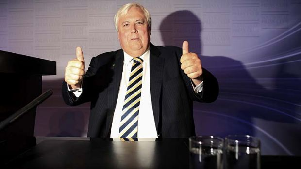 """''We don't think we're supposed to give up the road."""": Clive Palmer is sticking to his guns."""