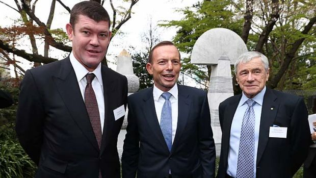 Friends in high places: James Packer, Tony Abbott and Kerry Stokes in Tokyo.