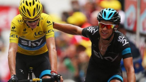 Lieutenant: Richie Porte (R) helps Sky teammate Chris Froome at the 2013 Tour de France.