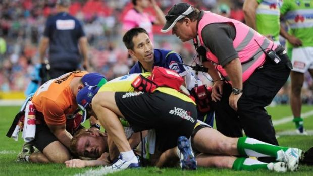 Raiders forward Joel Edwards, on the ground, will not play this weekend after being concussed in the past two rounds.