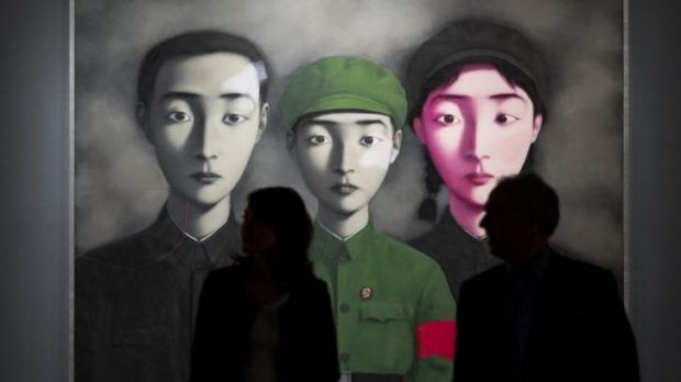 "Chinese artist Zhang Xiaogang's ""Bloodline: Big Family No.3"" sold for $13 million."