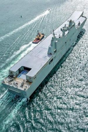 Massive flight deck: HMAS Canberra has the capacity to carry 16 helicopters.