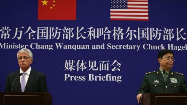 Defence Secretary Chuck Hagel and Chinese Minister of Defense Chang Wanquan clashed over island disputes at a joint news ...
