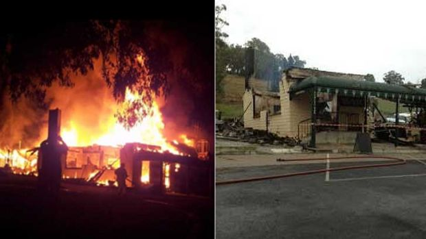 The Buchan Caves Hotel ablaze, left and the burnt-out shell after the fire.