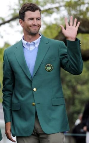 Adam Scott in the green jacket on Sunday.