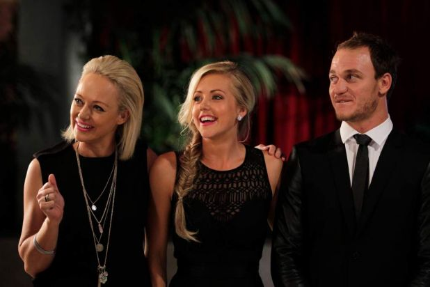 Auctions for Channel Nine's reality series The Block: Fans v Faves. Kyal and Kara Demmrich with Shelley Craft.