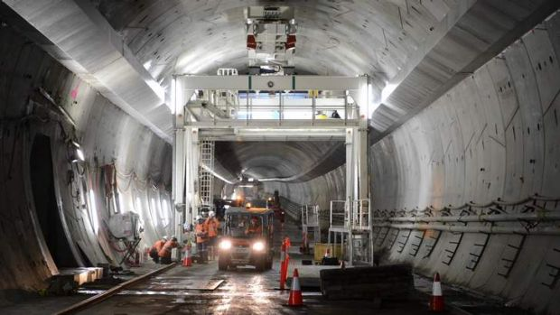 Construction work underway on the Legacy Way tunnel.