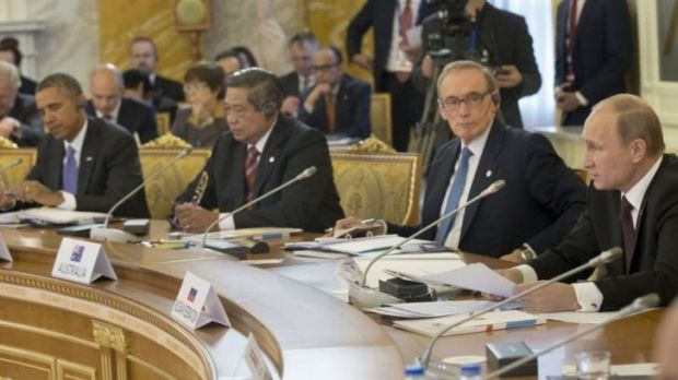 Former Australian foreign minister Bob Carr (second from right) at the G20 in September with US President Barack Obama, ...