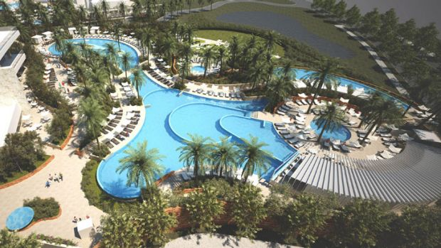 An artist's impression of the pool complex of Crown Towers.