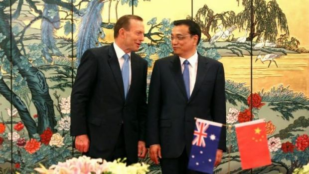 Prime Minister Tony Abbott and Chinese Premier Li Keqiang meet during Mr Abbott's visit to the country.