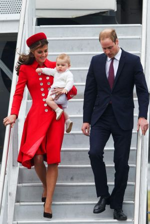 Prince William, Duke of Cambridge, Catherine, Duchess of Cambridge and Prince George of Cambridge arrive at Wellington ...