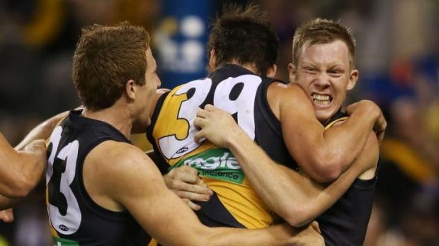 Jack Riewoldt kicked four goals after half-time against the Dogs.