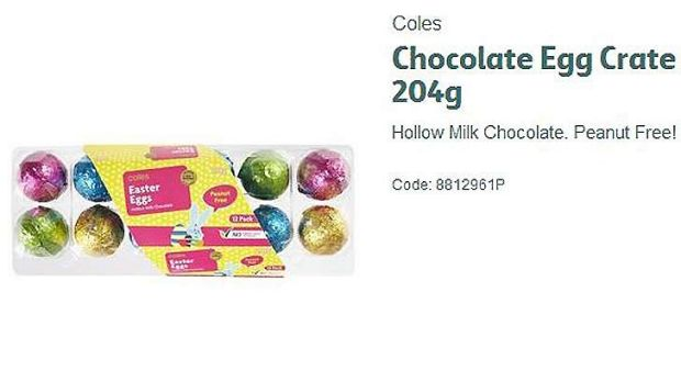 Some of the recalled eggs listed on the Coles website.