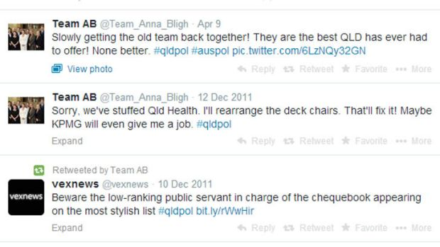 A screenshot of the Team Anna Bligh account shows a long period of inactivity.