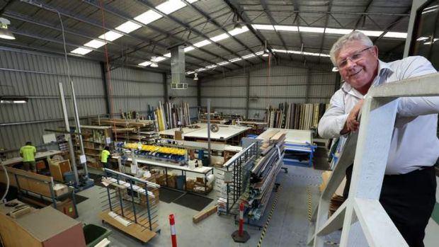 Watson Blinds and Awnings managing director Ray Watson above the factory floor in Queanbeyan.