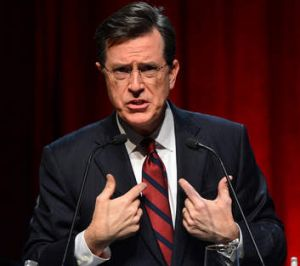 Who, me? Stephen Colbert will replace David Letterman as the host of <i>The Late Show</i>.
