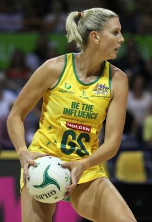 Catherine Cox in action during the 2012 Quad Series match between the Australian Diamonds and South Africa at Newcastle ...