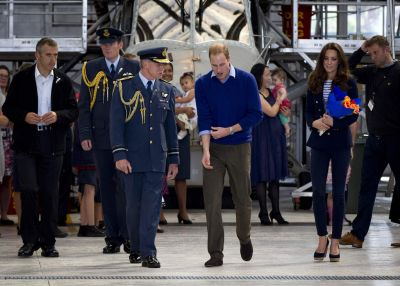 Britain's Prince William and his wife, Kate, the Duchess of Cambridge, arrive to meet with families at the Royal New ...