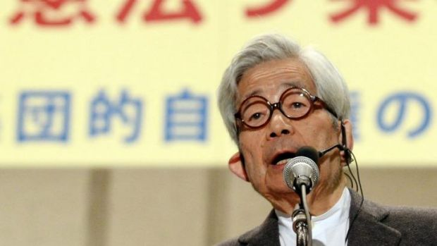 Nobel laureate for literature Kenzaburo Oe at a protest against the government's proposed changes.
