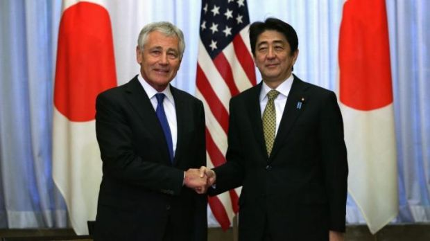US Secretary of Defence Chuck Hagel with Japanese Prime Minister Shinzo Abe.
